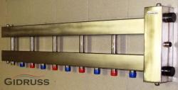 Коллектор отопления с гидрострелкой Gidruss BMSS-100-6D из нержавеющей стали