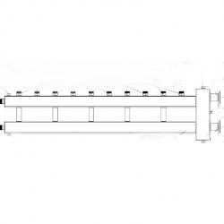 Коллектор отопления с гидрострелкой Gidruss BMF-300-6U фланцевый