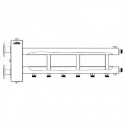 Коллектор отопления с гидрострелкой Gidruss BMFSS-300-4D фланцевый из нержавеющей стали