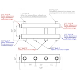 Модульный коллектор отопления Gidruss MKSS-40-3D из нержавеющей стали