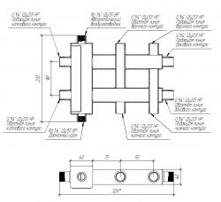 Коллектор отопления с гидрострелкой Gidruss BMSS-40-3DU (до 40 кВт, все контуры G ¾″, 4D-кронштейны K.UMS, подключение термодатчика) Артикул: BM 40A10 20