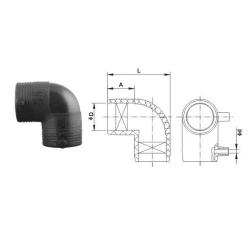 Отвод 20 электросварной 90° ПЭ 100 SDR11