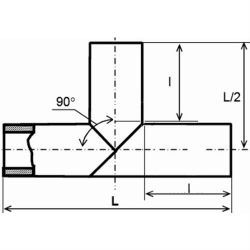 Тройник 90 сварной 90° ПЭ 100 SDR21
